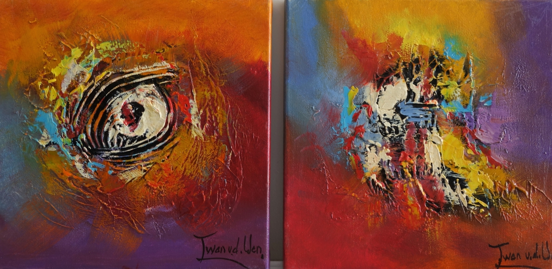 Schilderij abstract set 30x60