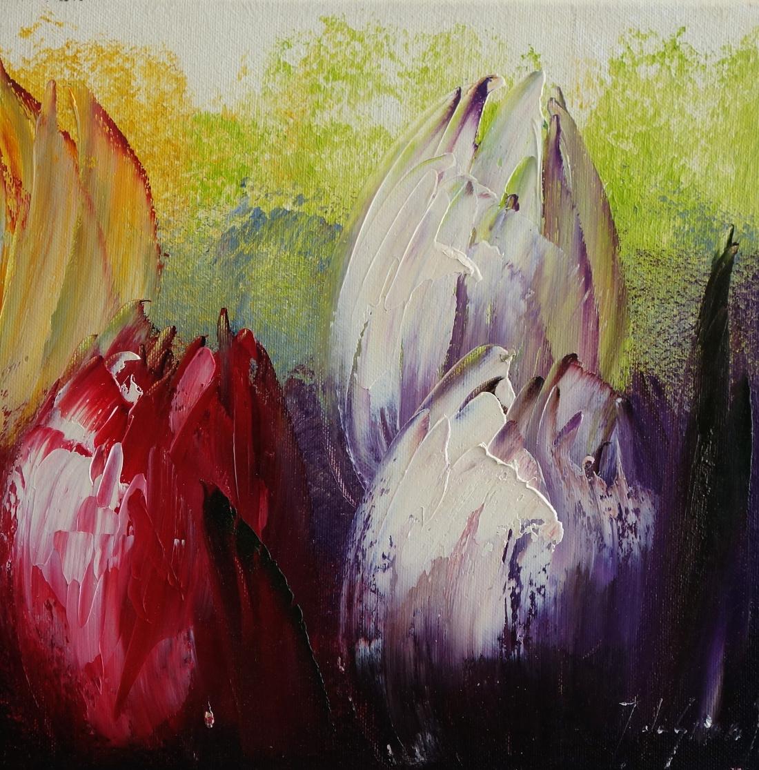 Schilderij tulpen 30x30