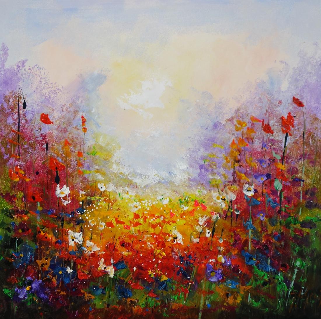 Schilderij bloemenveld 80x80