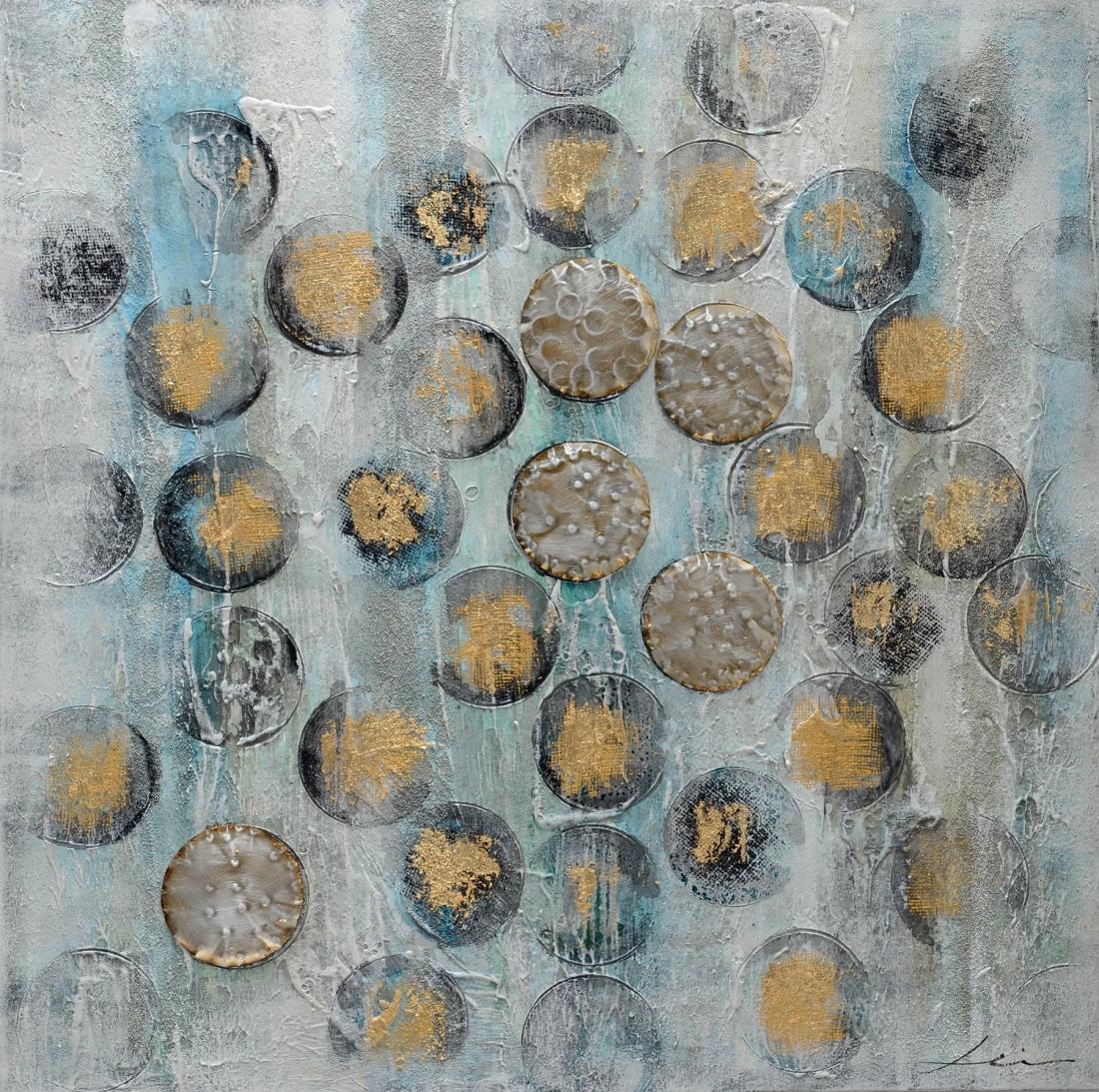 Schilderij abstracte cirkels 100x100