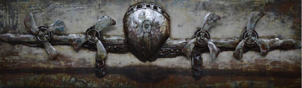3D metaal schilderij vliegtuig 50x180