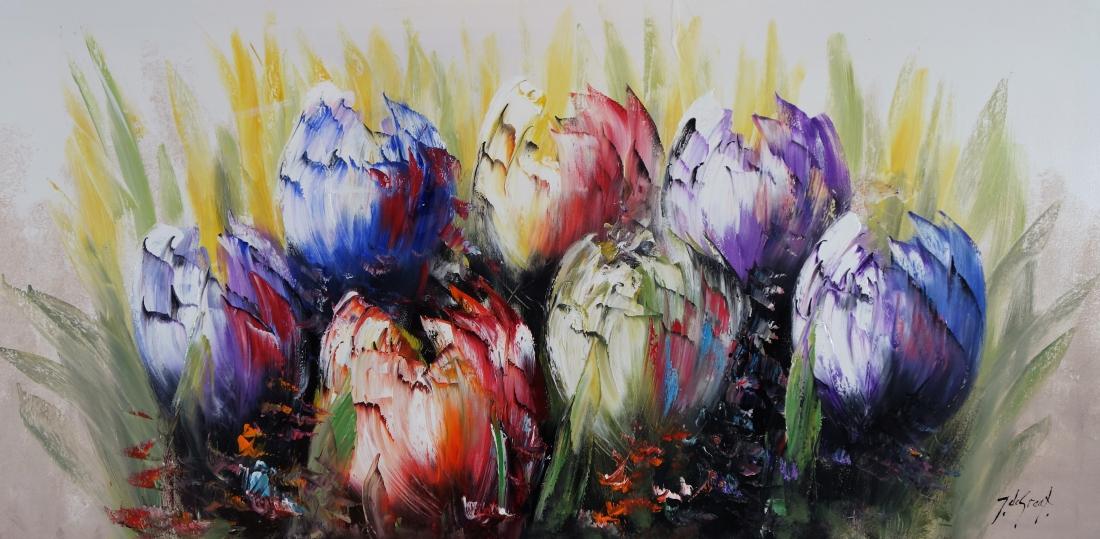 Schilderij moderne tulpen 70x140