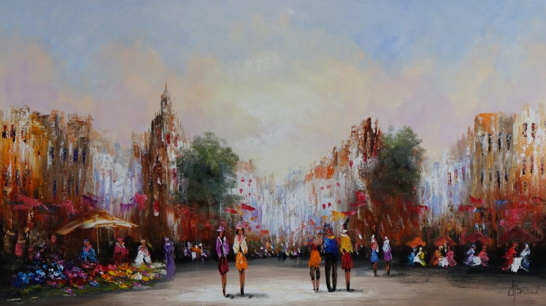 Schilderij marktplein 80x140