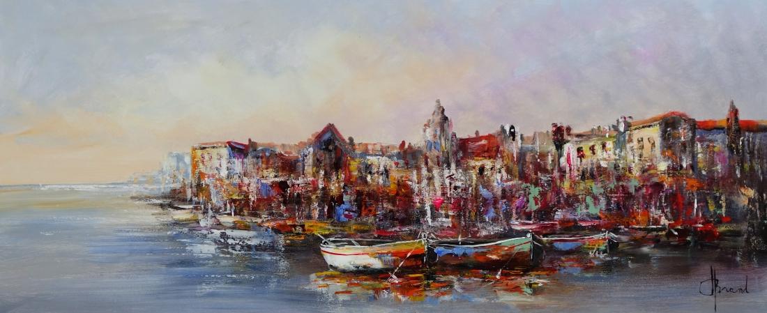 Schilderij havenstad 50x120