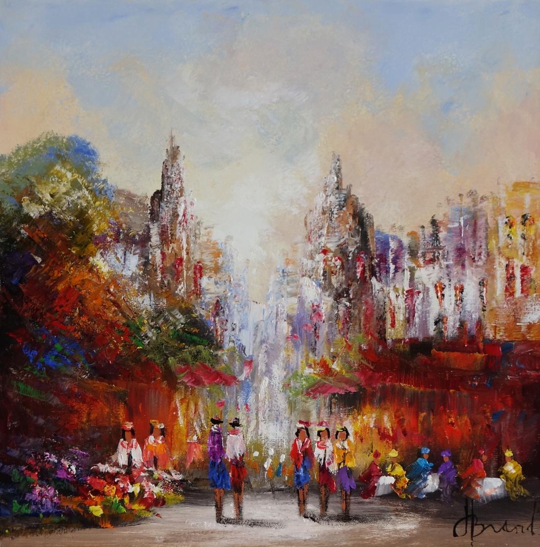 Schilderij marktplein met mensen 50x50