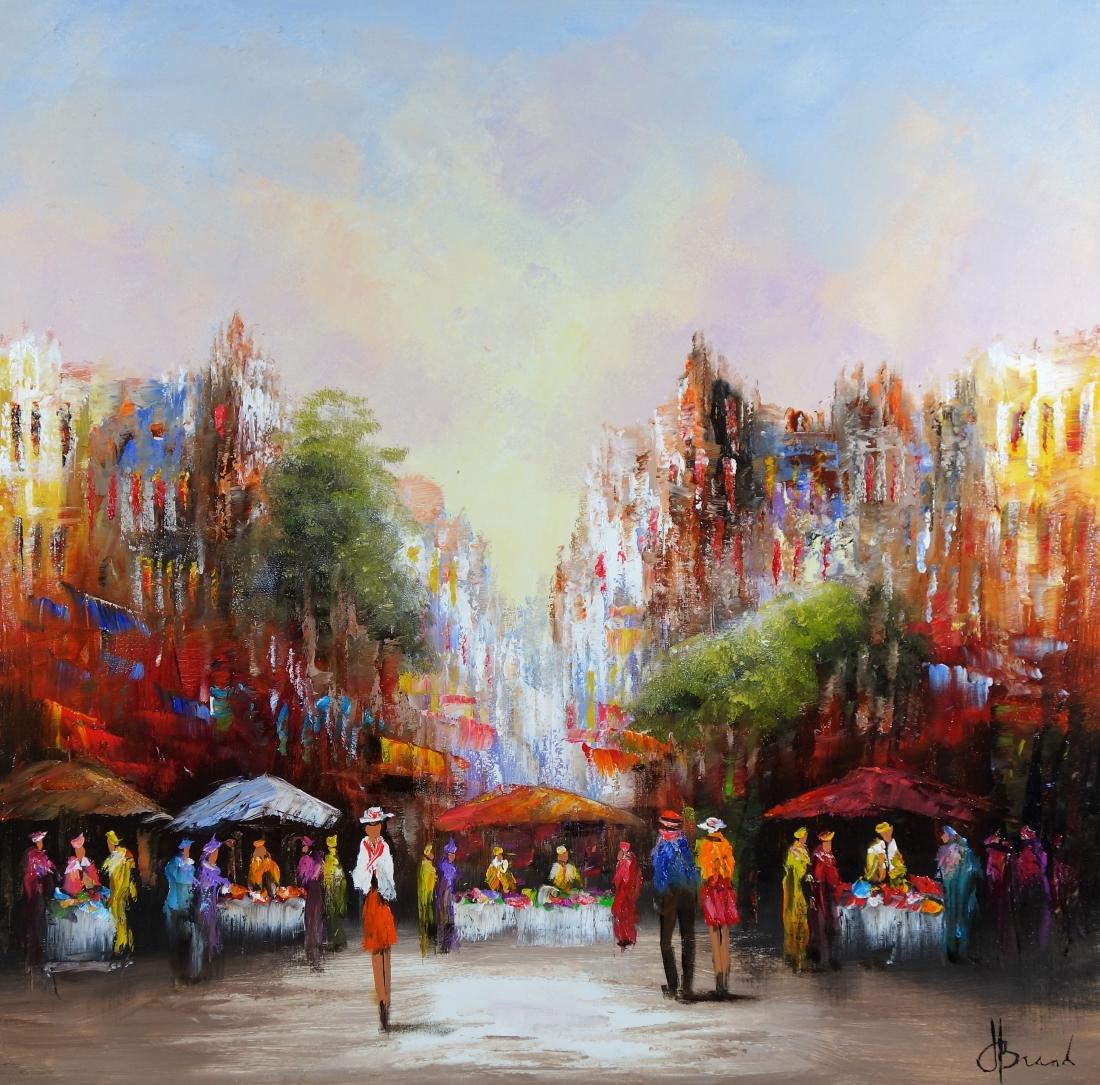 Schilderij marktplein 100x100