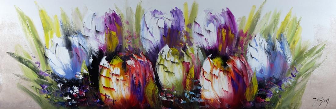 Schilderij hollandse tulpen 50x150
