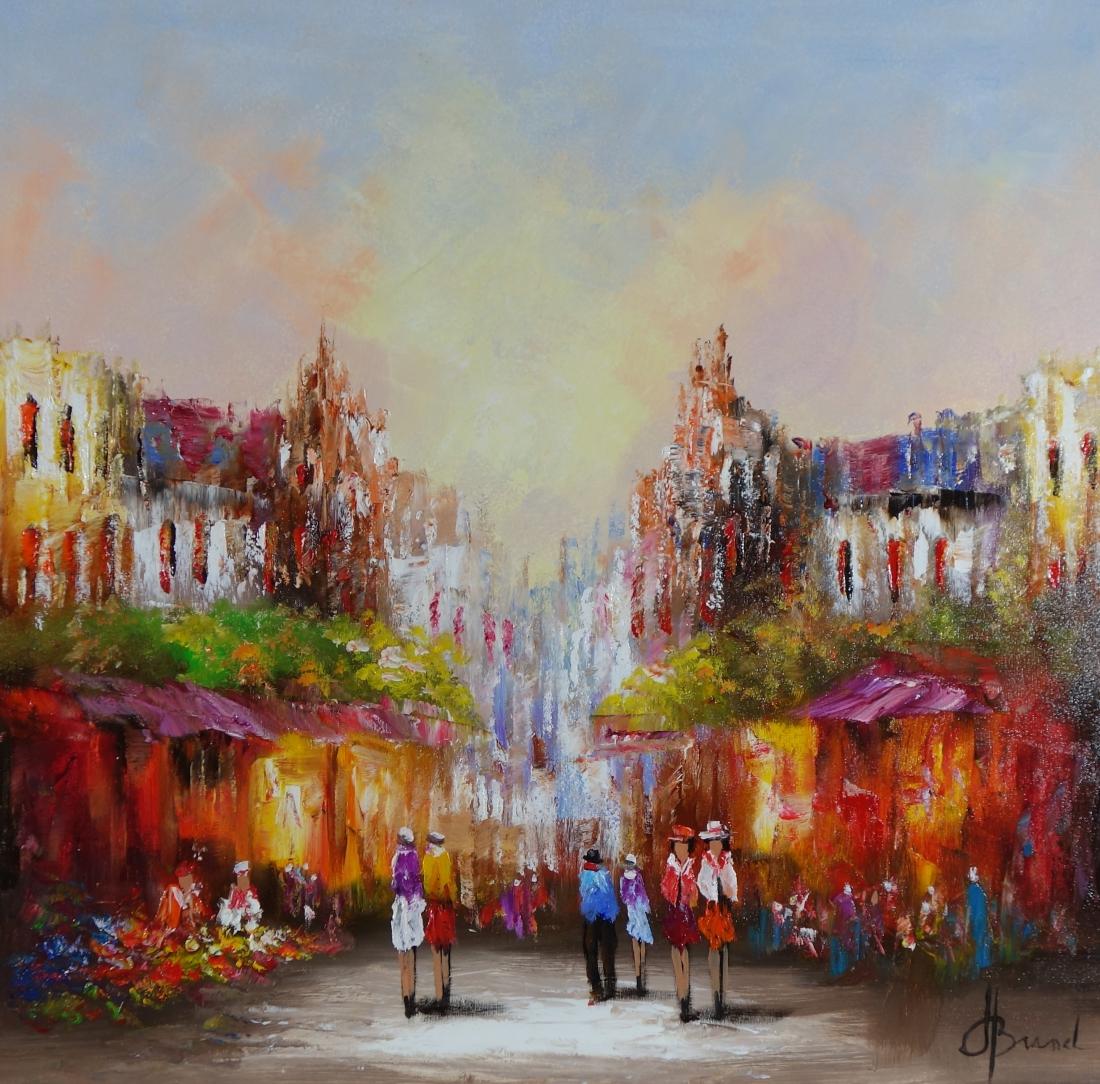 Schilderij markt 80x80