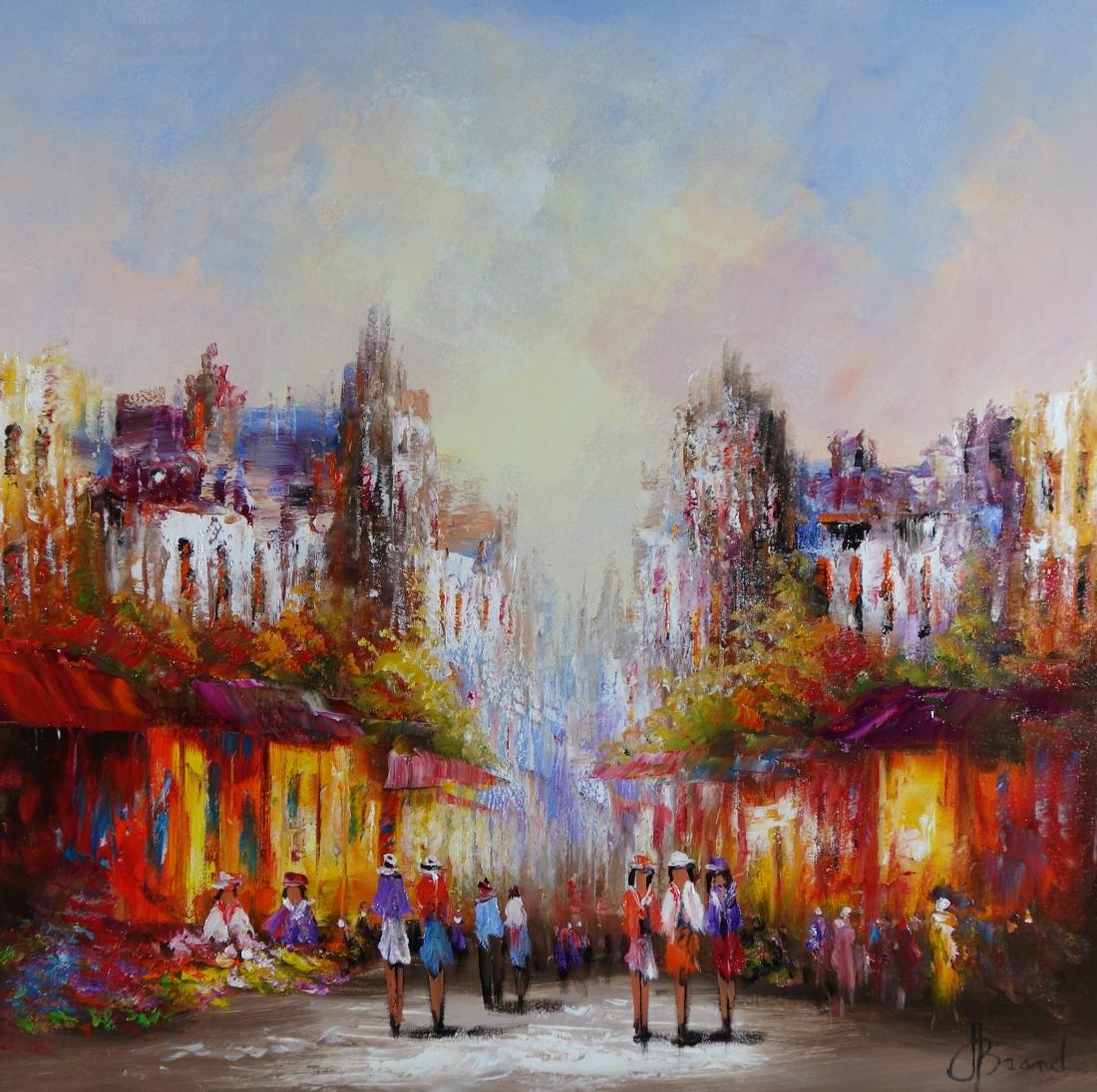 Schilderij bruisende stad 90x90