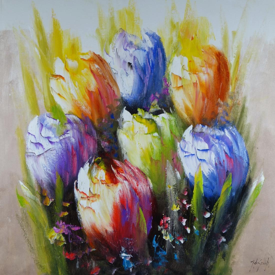 Schilderij Nederlandse tulpen 100x100