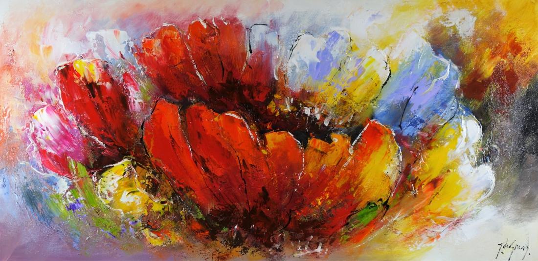 Schilderij abstracte bloemen 70x140