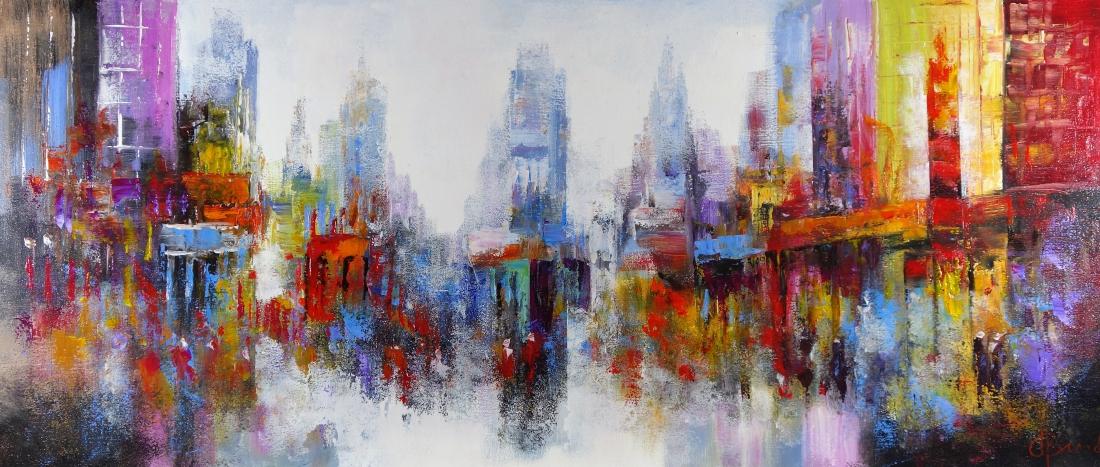 Schilderij modern Stadsgezicht 70x160