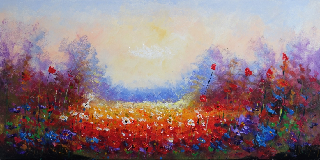 Schilderij bloemenveld 70x140