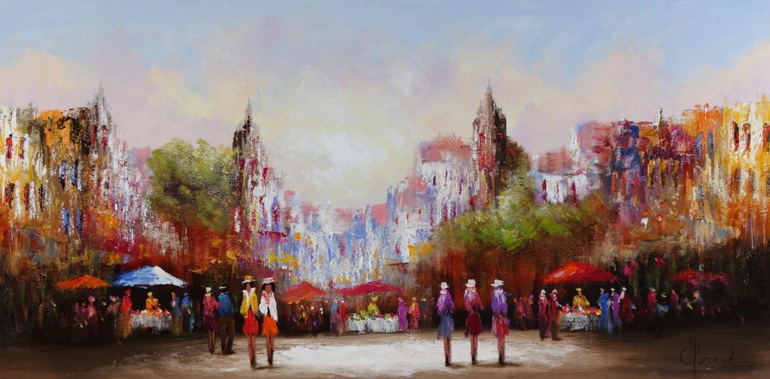 Schilderij stad 70x140