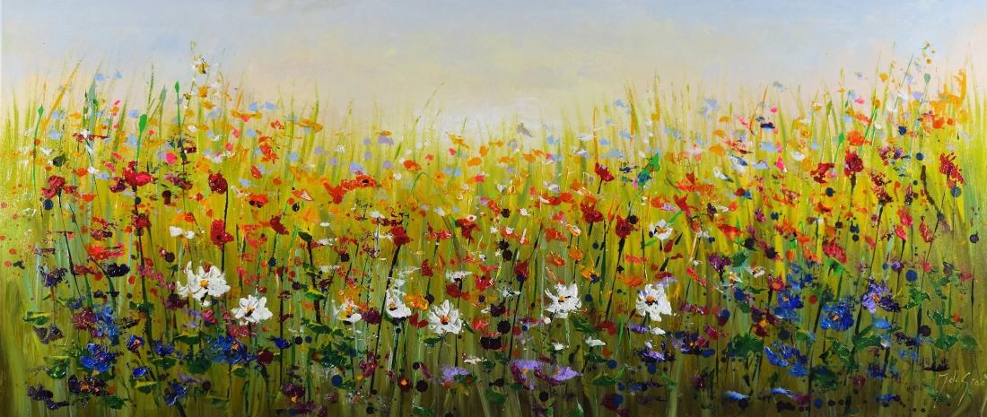 Schilderij kleurrijk bloemenveld 70x160