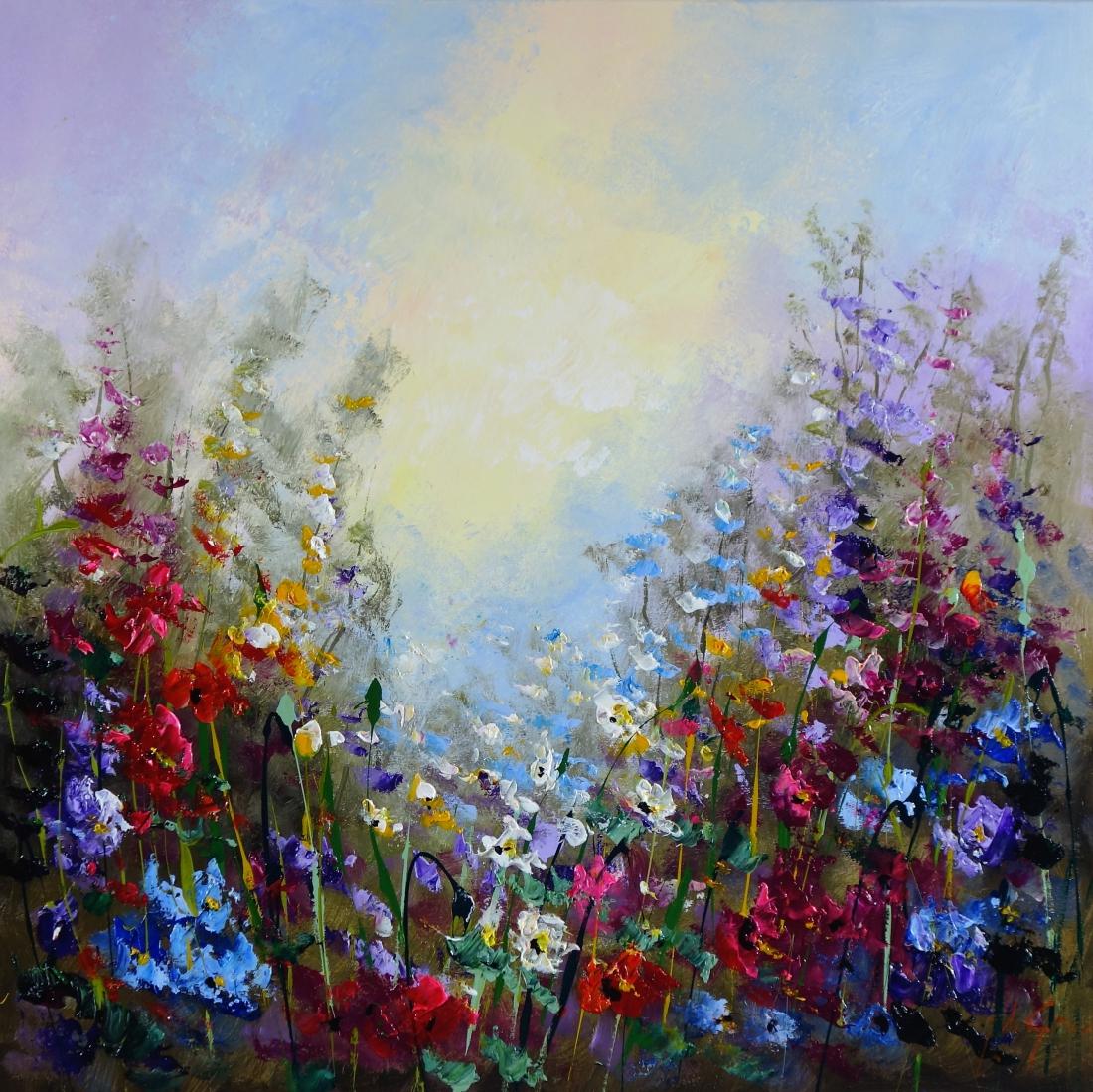 Schilderij bloemen 80x80