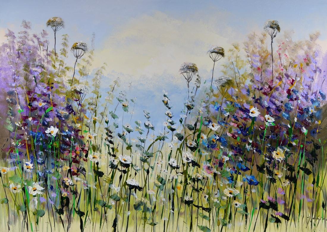 Schilderij modern bloemenveld 100x140