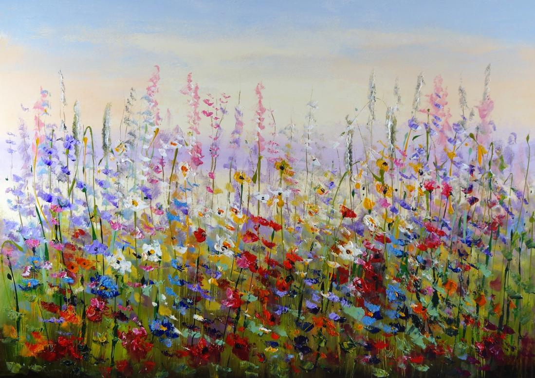 Schilderij bloemenveld 100x140