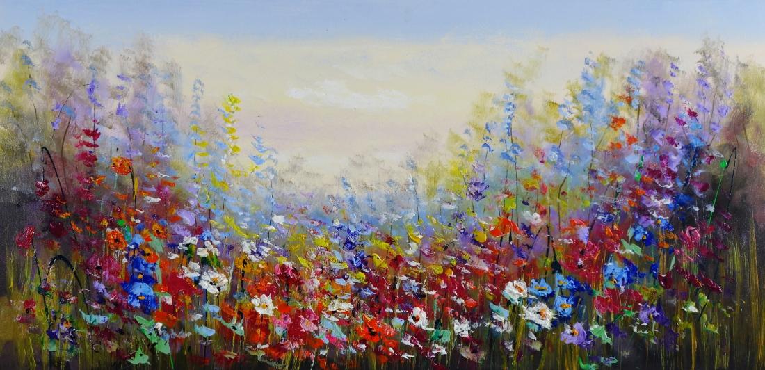 Schilderij kleurrijk bloemenveld 70x140