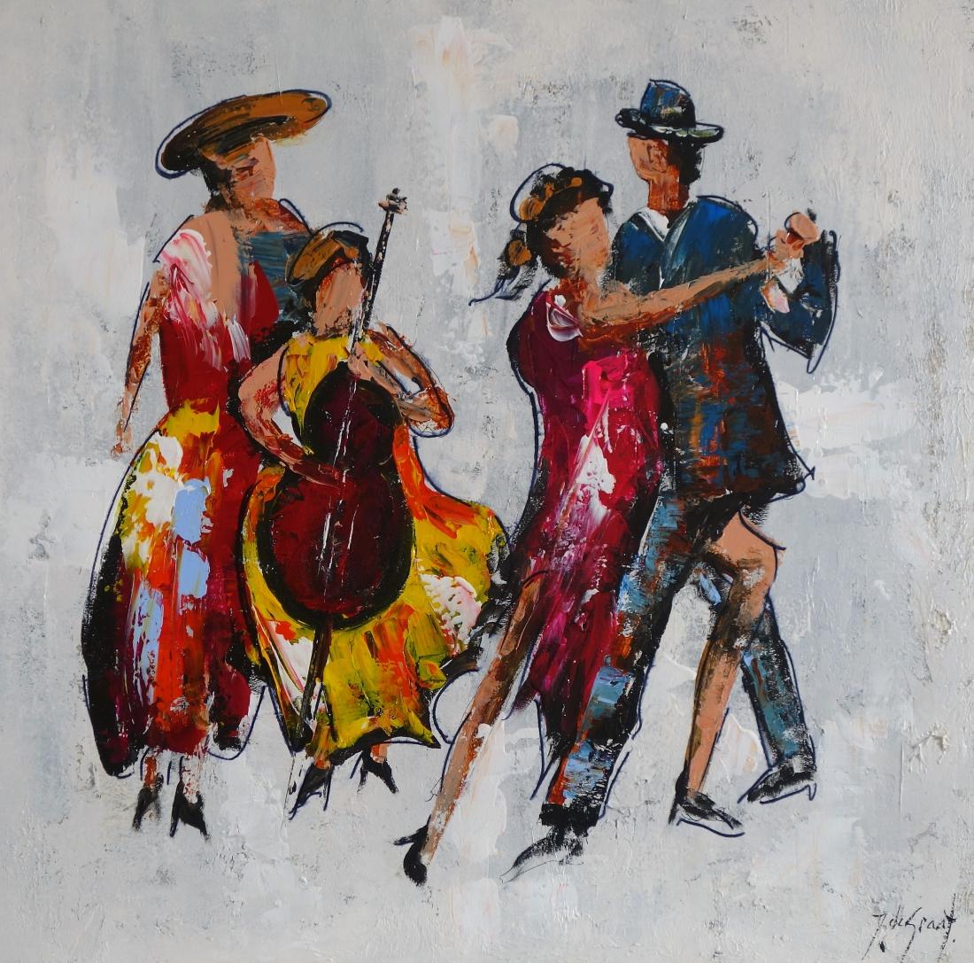 Schilderij dansen 100x100