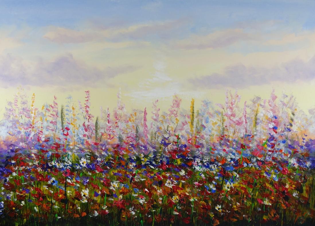 Schilderij kleurrijk bloemenveld 100x140