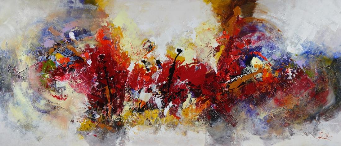 Schilderij kleurrijk 70x160