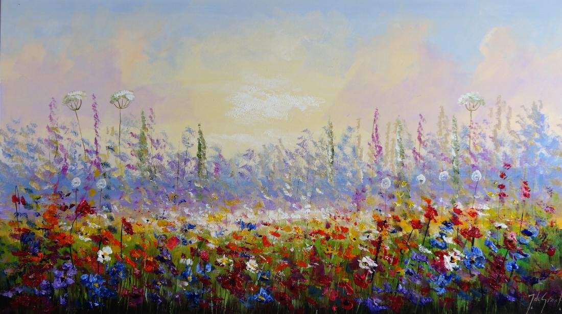Schilderij modern bloemenveld 80x140