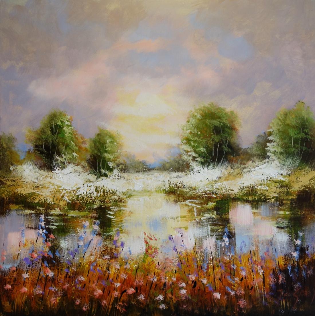 Schilderij Hollands landschap 80x80