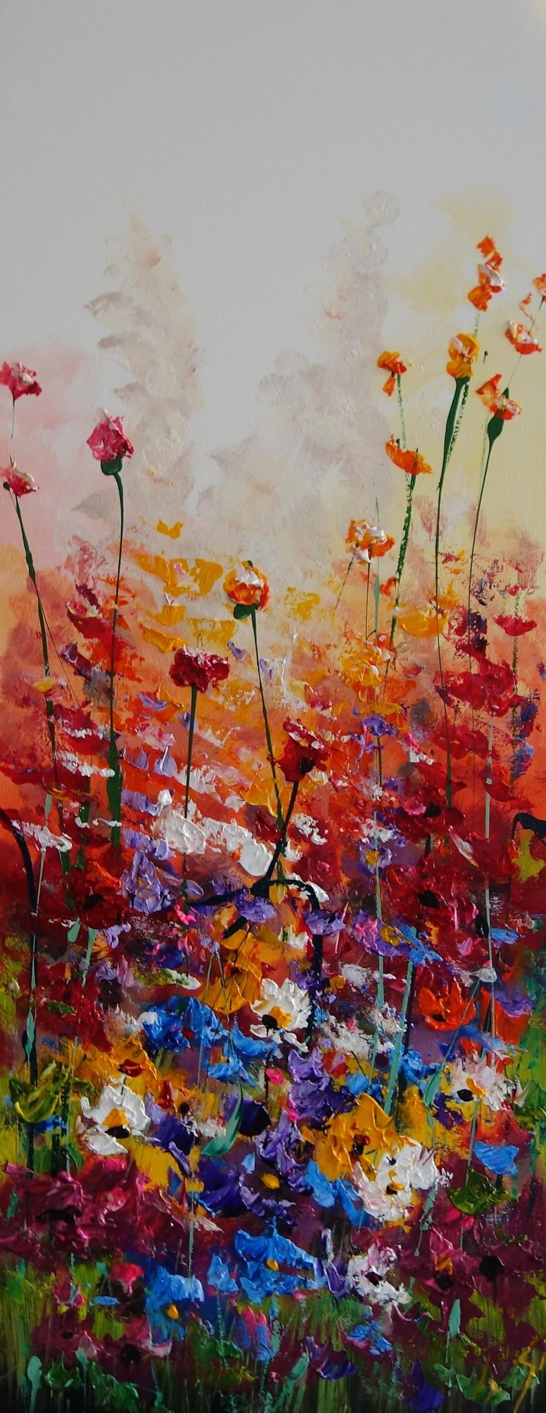 Schilderij bloemenveld 40x100