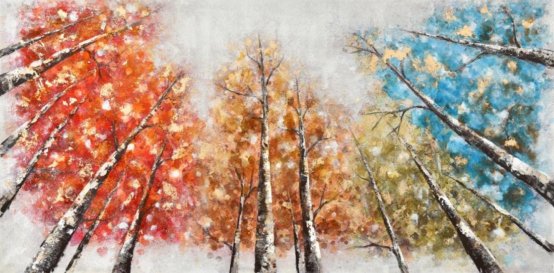 Schilderij kleurrijke bomen 70x140