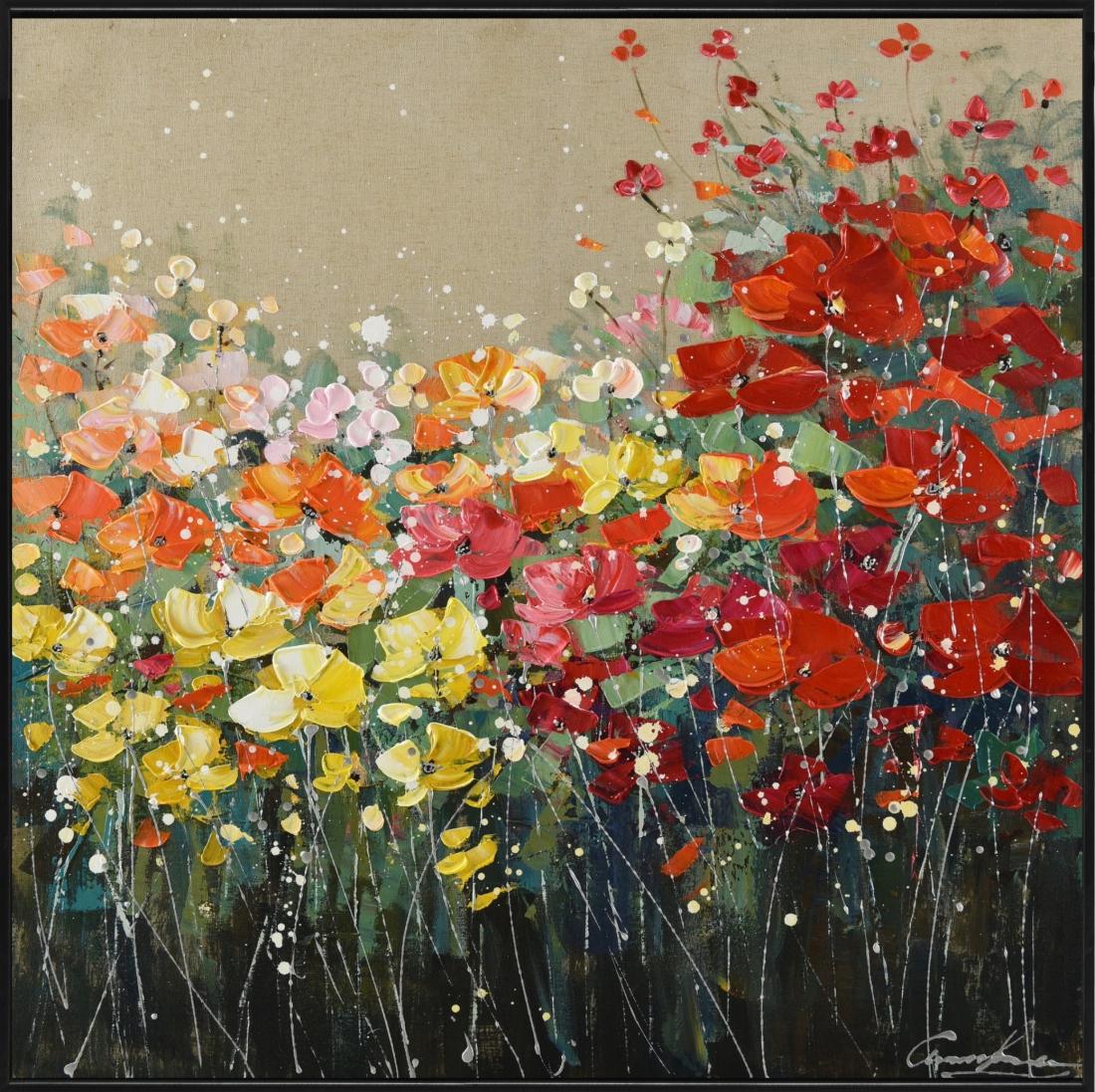 Schilderij bloemen 102x102
