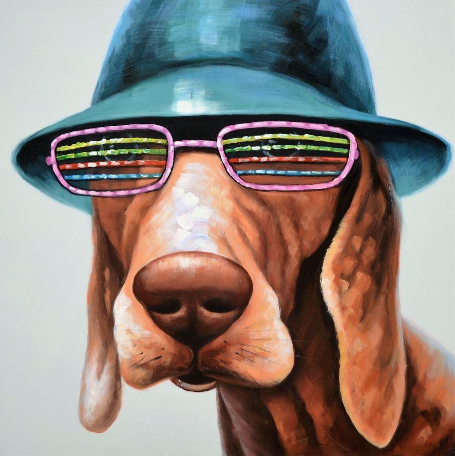 schilderij hond 100x100