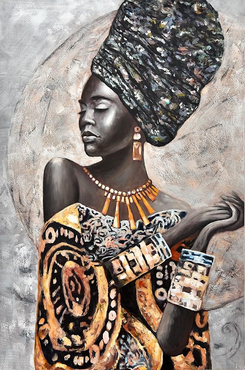 schilderij afrikaanse vrouw 100x150