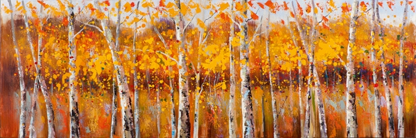 schilderij Modern bomen 50x150