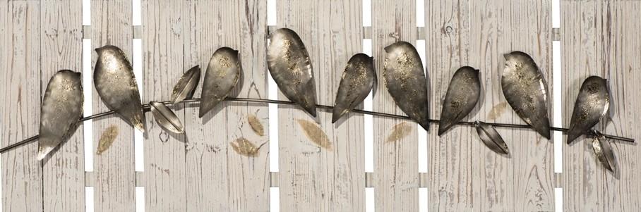 Schilderij metalen vogels op hout 40x120