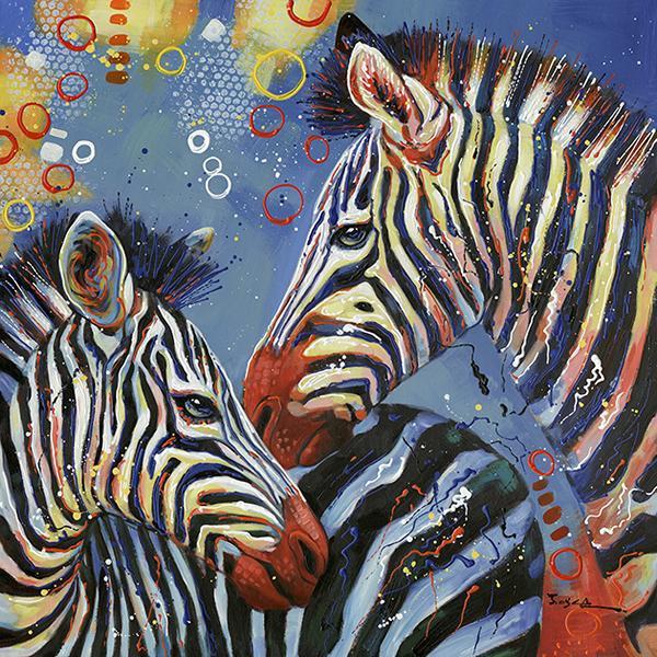 schilderij zebra 90x90