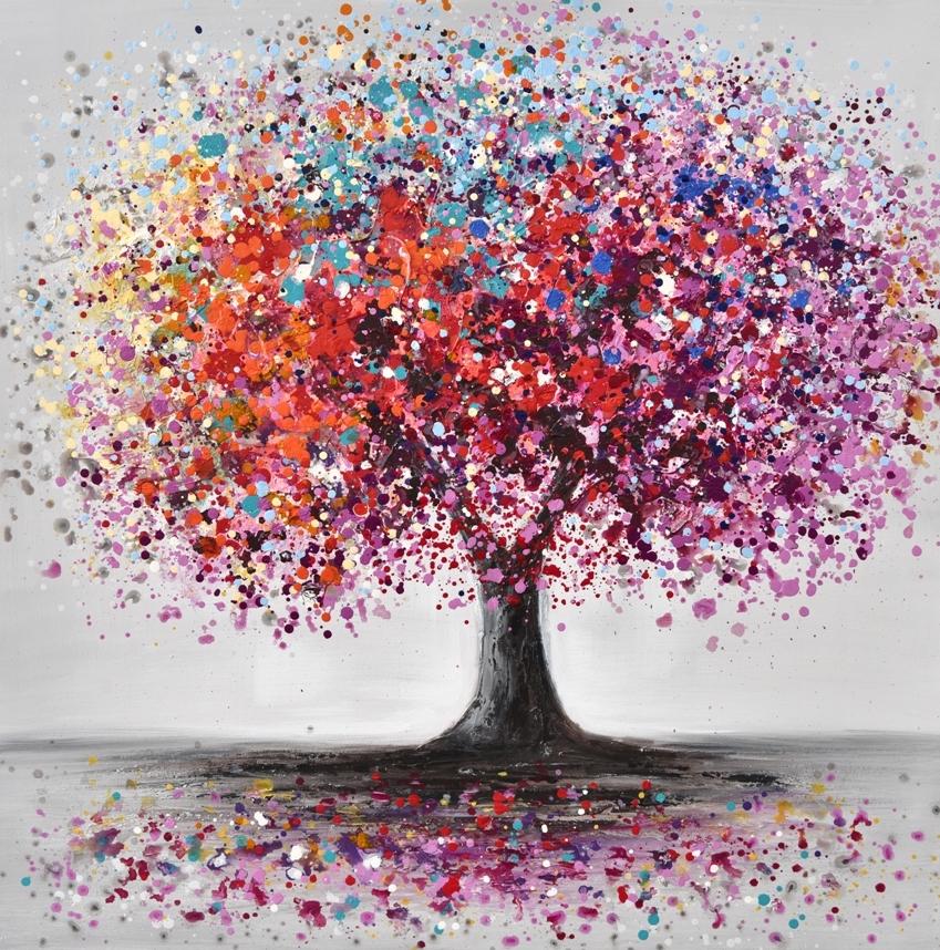 Schilderij kleurrijke boom 100x100