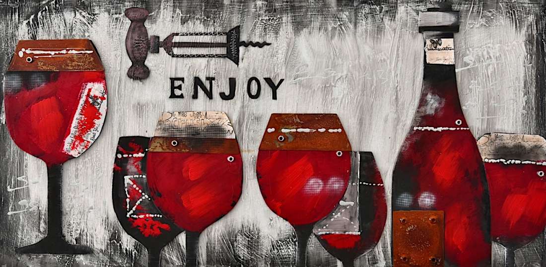 Schilderij wijnflessen 70x140