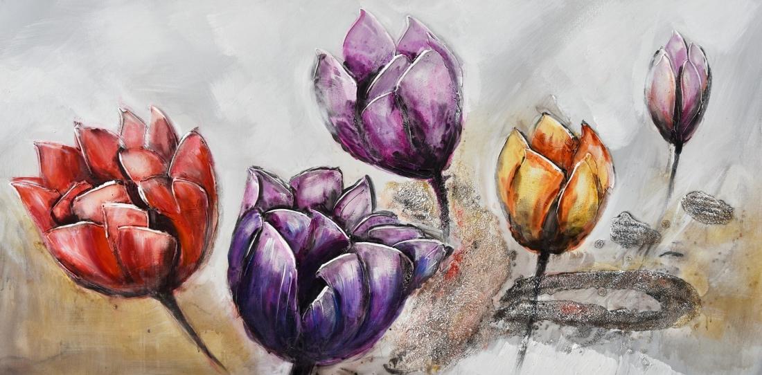 Schilderij tulpen 60x120