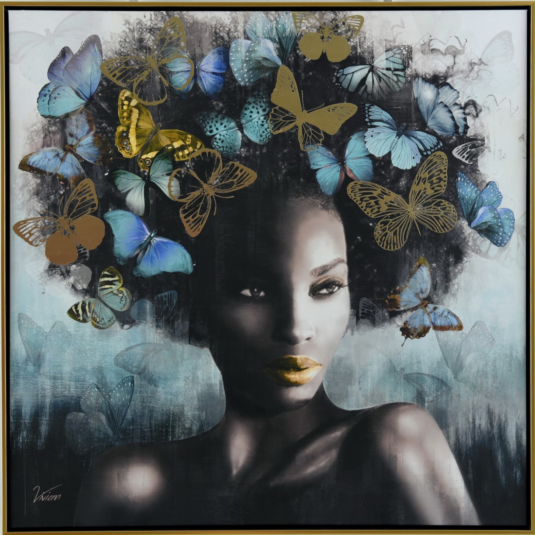 Schilderij vrouw met vlinders 82x82