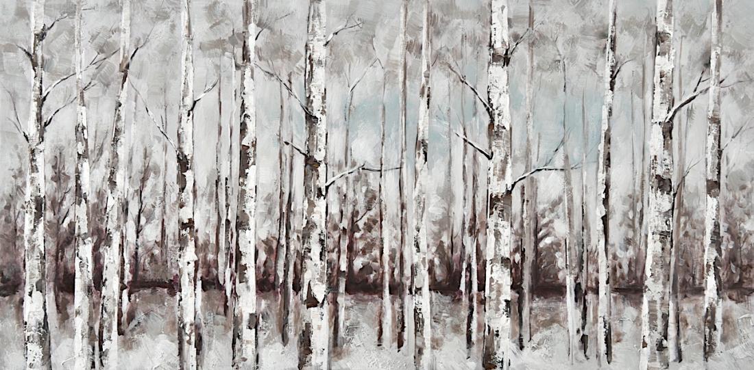 Schilderij winter berkenbos 70x140