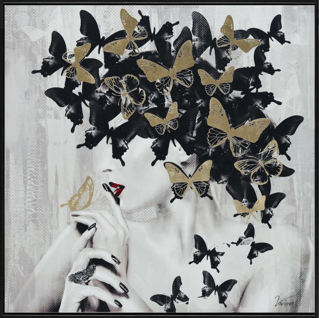 Schilderij vrouw met vlinders 102x102