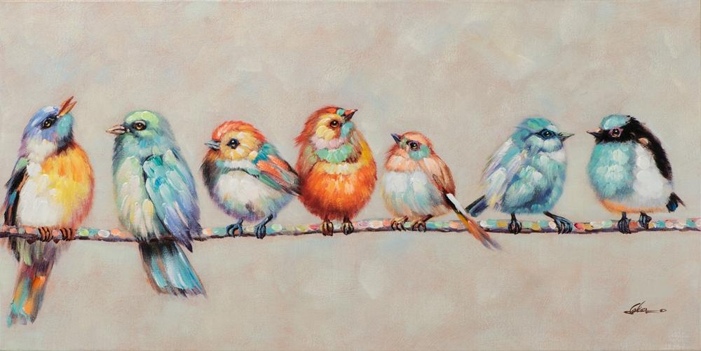 Schilderij vogels 70x140