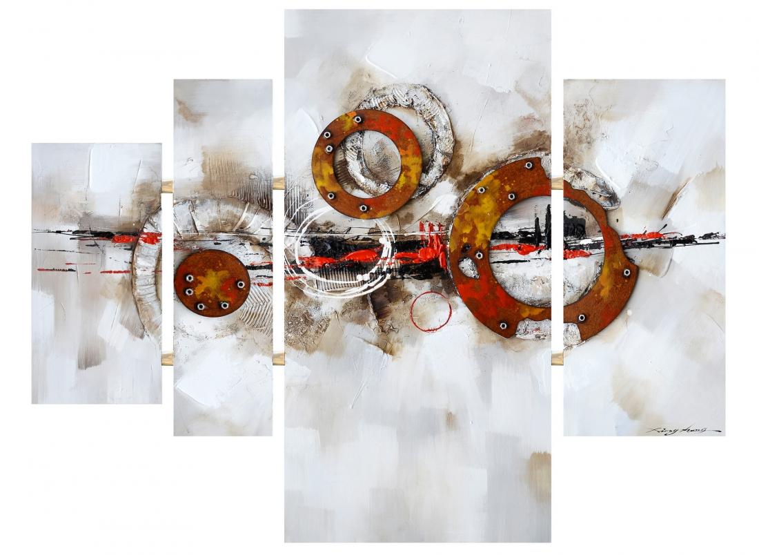 Schilderij abstract 4-luik 74x109