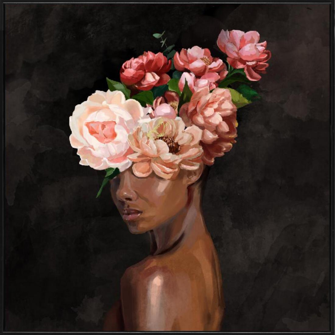 Schilderij vrouw met bloemen 82x82