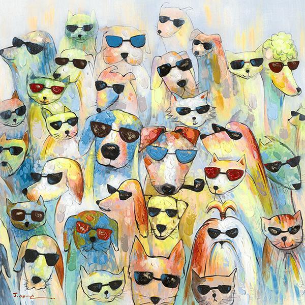schilderij hond met zonnebril 100x100