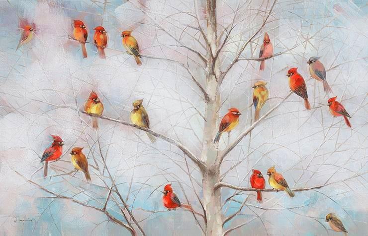 schilderij vogels op takken 90x140