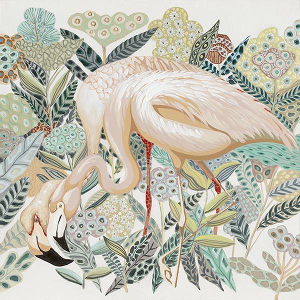 schilderij flamingo 90x90