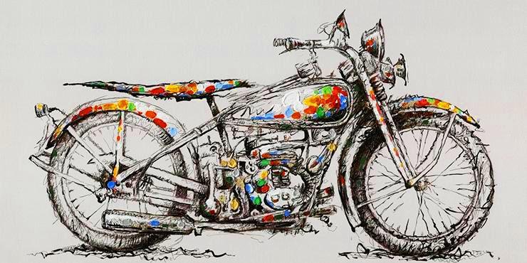 schilderij motor 70x140
