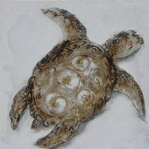schilderij schildpad 80x80